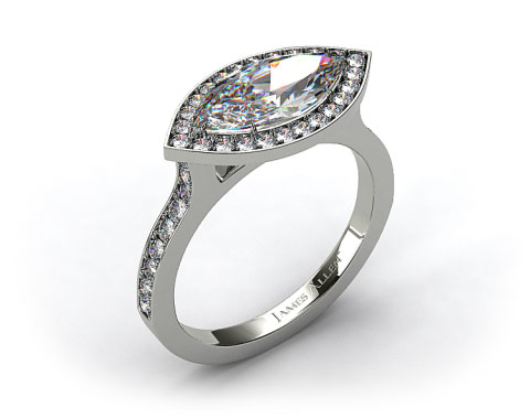 18k White Gold Pave Halo &amp; Shoulders Engagement Ring (Marquise Center)